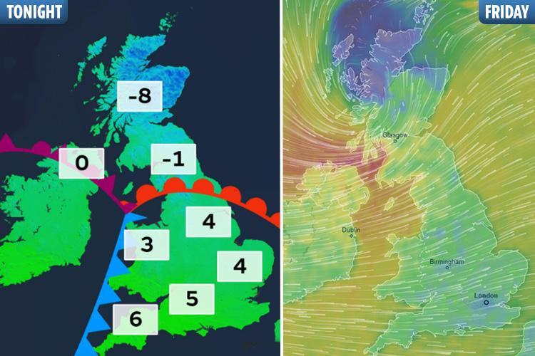 UK weather – Met Office warns 'danger to life' as 80mph gales forecast to batter Britain after 8 INCHES snow tonight