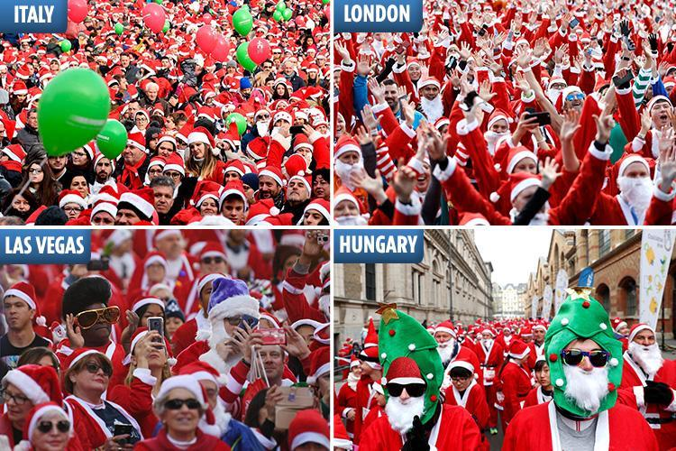 Thousands take part in Christmas 'Santa runs' all over the world to ring in the festive season