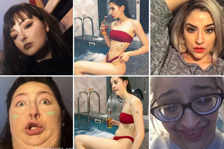 Women post funny before and after photos showing Instagram-worthy poses followed by ugly faces