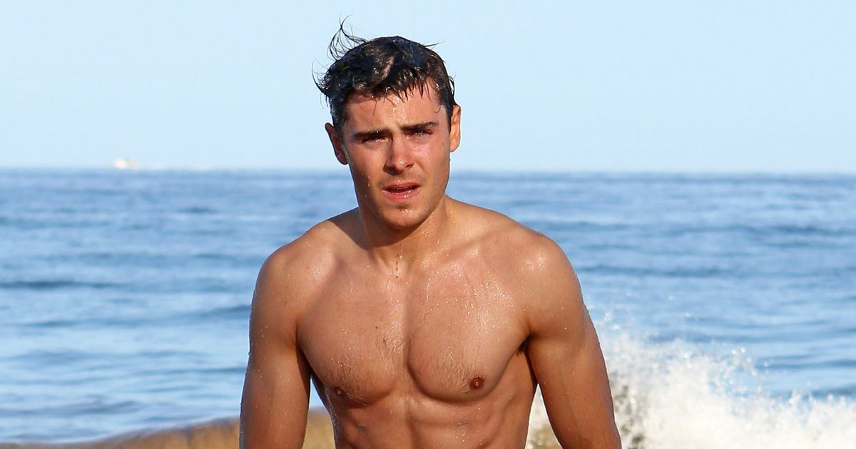 Zac and Dylan Efron show off matching muscles as they go shirtless