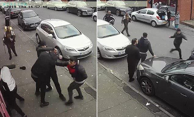 Footage of a violent fist-fight in Blackburn emerged on social media