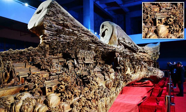 Famed Chinese scroll painting brought to life in 3D wooden carving