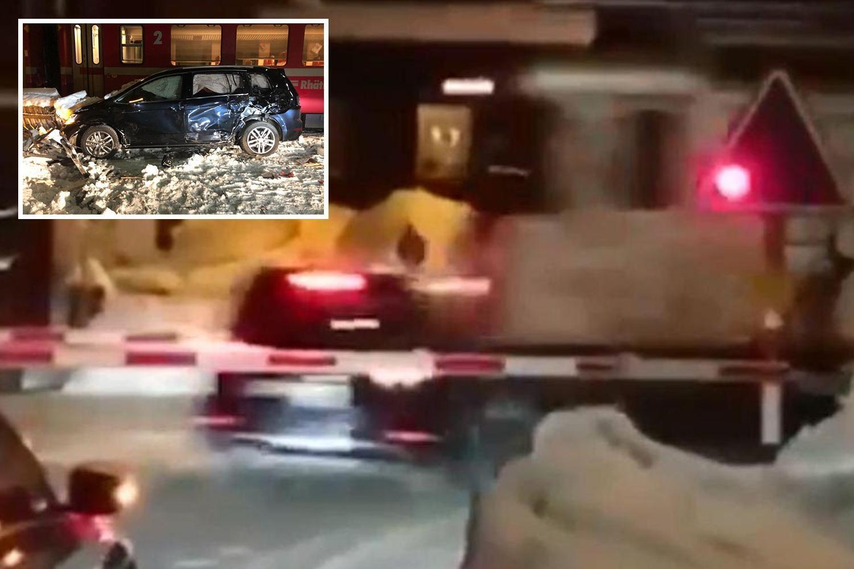 Three 'Brit businessmen' in car smashed by train at Davos summit walk away UNHURT