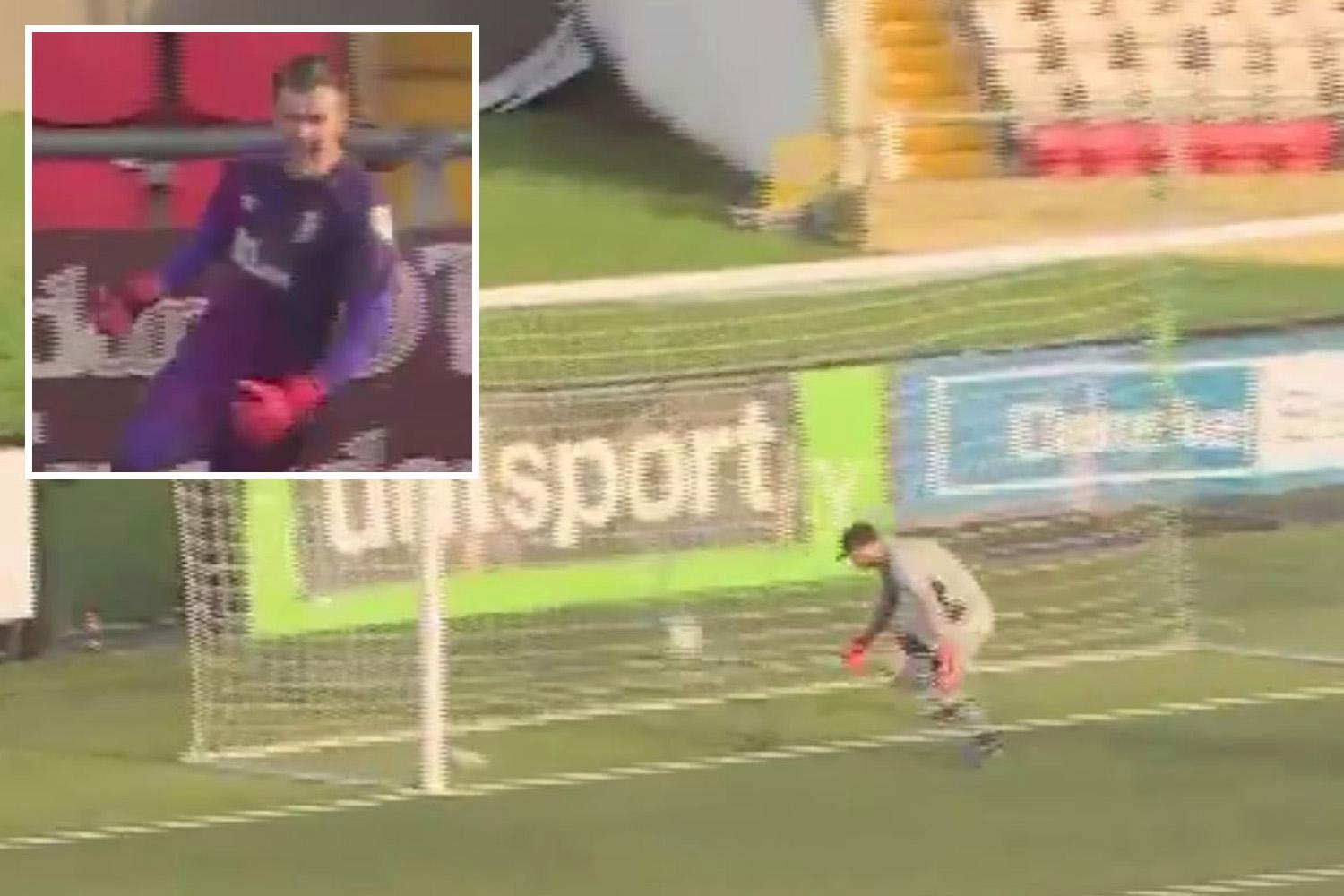 Goalkeeper scores from 80 yards out and wildly runs up touchline to celebrate with fans