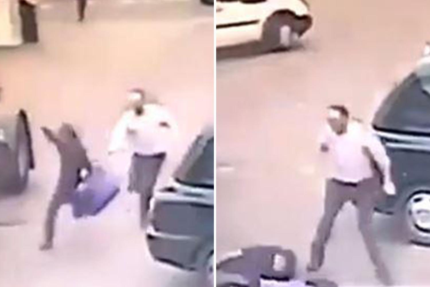 Moment 'shoplifter' fleeing from Tesco trips and is run over by a lorry in the car park