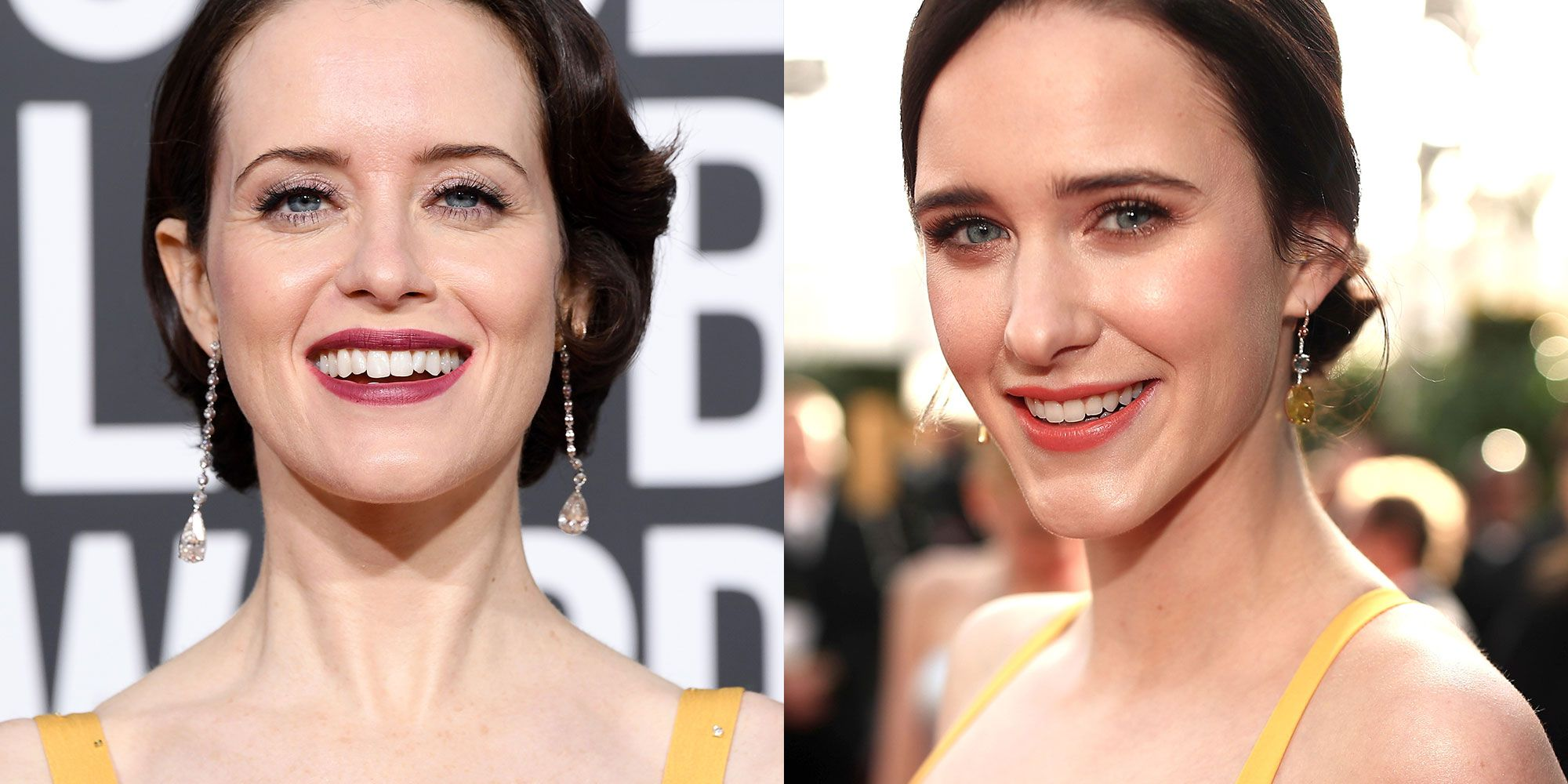 Rachel Brosnahan and Claire Foy Basically Just Wore the Same Dress to the Golden Globes