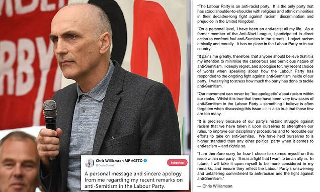 Corbyn ally forced into a humiliating apology over anti-Semitismclaim