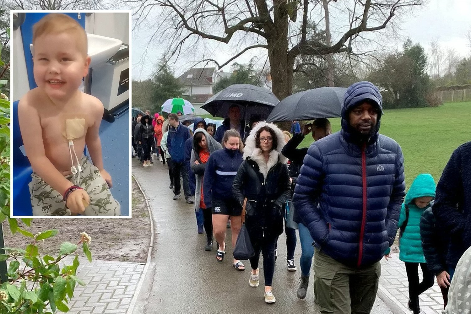 Almost FIVE THOUSAND people queue in rain for hours to see if they are organ match for dying boy, 5, in bid to save his life
