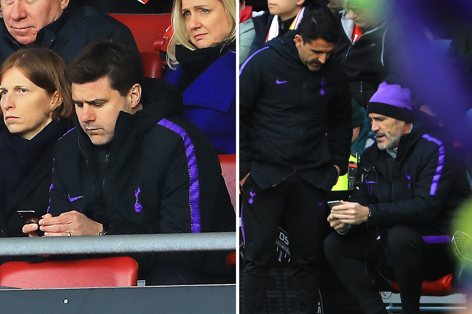 Desperate Pochettino texts and phones Spurs bench as he can only watch from stands as team collapses to Southampton