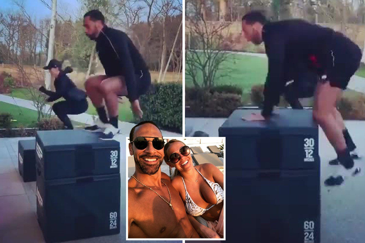 Man Utd legend Rio Ferdinand and Kate Wright show off 6am workout… before he comes a cropper on box jumps