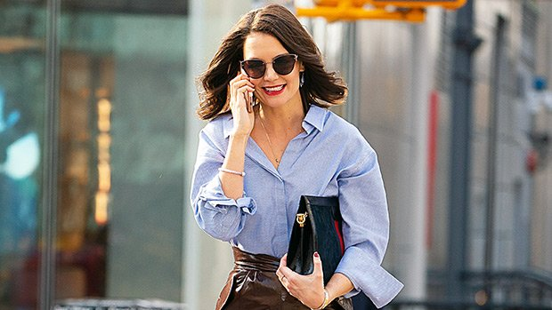 Katie Holmes Wears Leather Skirt & Red Lipstick Out In NYC After Rumored Split From Jamie Foxx