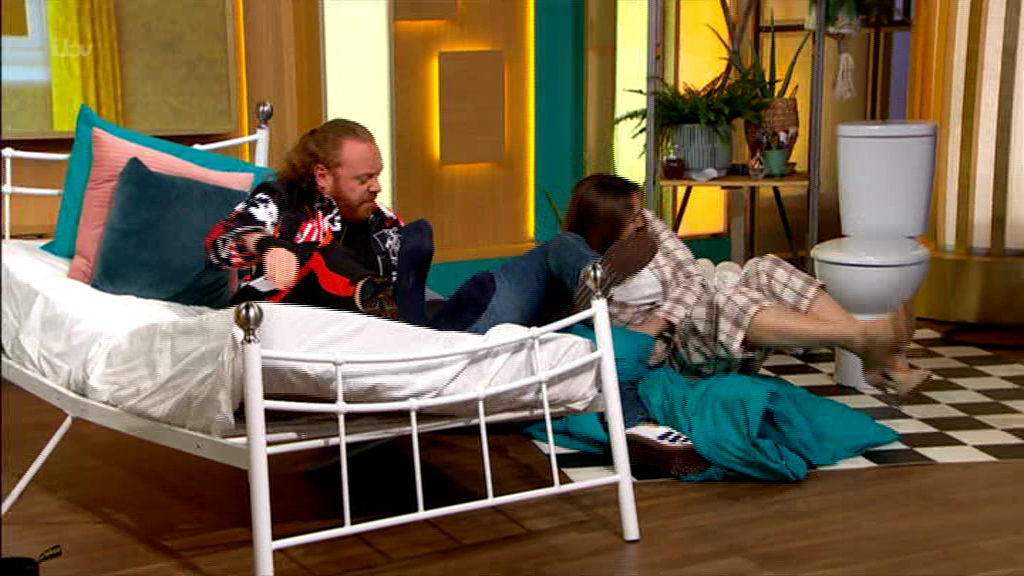 Kelly Brook breaks bed on live TV after she's dragged under the covers with Paddy McGuinness and Keith Lemon
