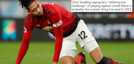 Smalling brutally trolled by fans after Man Utd defender tells Messi to 'bring it on' ahead of Barcelona clash