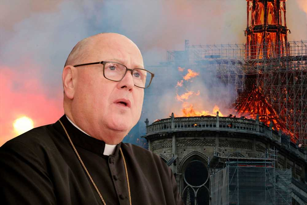 Cardinal Dolan prays for aid as Notre Dame cathedral fire rages
