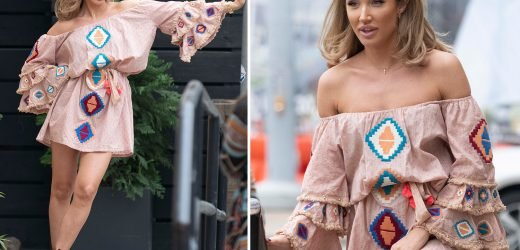 Megan McKenna flashes her legs in minidress as she records new music in Nashville after ex Mike Thalassitis' shock death