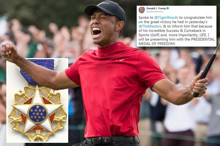 Trump to award Woods the Presidential Medal of Freedom after Masters win completed incredible comeback