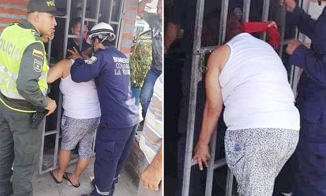 A VERY Nosy neighbor gets her head stuck door's metal bars for 5 HOURS