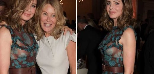 Trinny Woodall makes a statement in sheer top at fashion party in London
