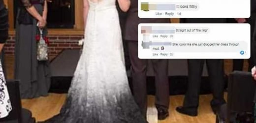 Bride roasted for wearing an 'ombre' black wedding dress that make it look like she's 'walked through mud'