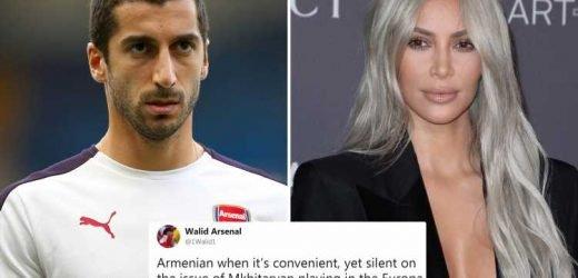 Arsenal fans jokingly brand Kim Kardashian a 'disgrace' for not sticking up for Henrikh Mkhitaryan in Europa League final row