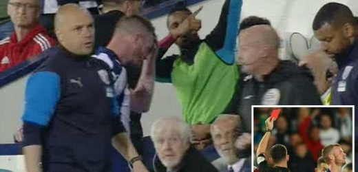 Watch hilarious moment Aston Villa ace Jonathan Kodjia 'dabs' Chris Brunt off field after sending off for West Brom