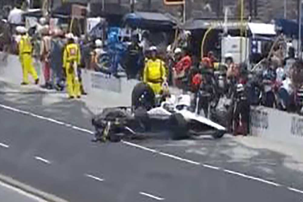 Indy 500 crew member struck, carried off on stretcher