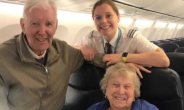 Heartwarming footage sees grandparents realise granddaughter is pilot