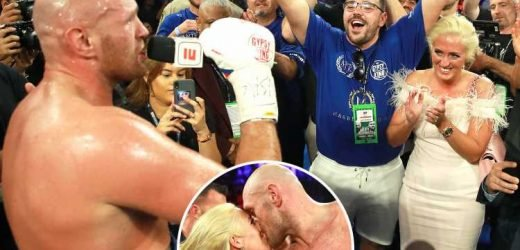 Watch Tyson Fury sing Aerosmith tune 'I don't want to miss a thing' to wife Paris after Tom Schwarz win