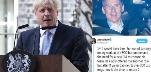 Boris Johnson sacks defeated Tory leadership rival Jeremy Hunt