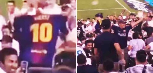 Watch Real Madrid fans hurl dozens of drinks at Barca fan who unveils Messi jersey during Madrid derby 'friendly' – The Sun