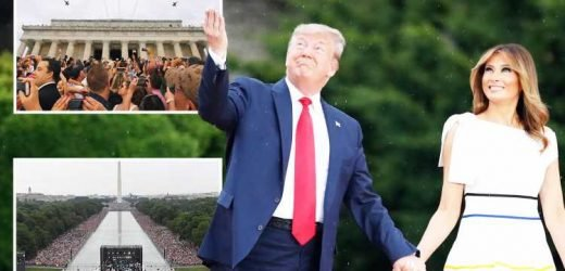 Donald Trump hails US heroes during patriotic Independence Day extravaganza as military flyover stuns soaked DC crowds