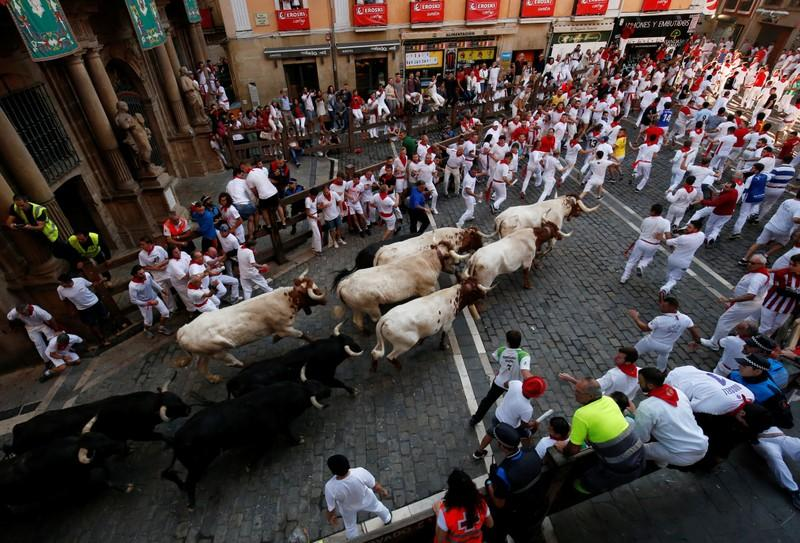 One gored among dozens injured at bull-running in Spain
