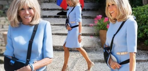 Brigitte Macron turns heads in blue dress and killer heels – why is her arm in a sling?