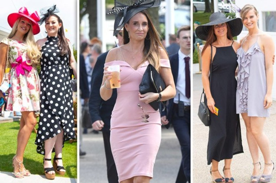 Here come the girls! Goodwood revellers look glorious as they arrive for Ladies Day