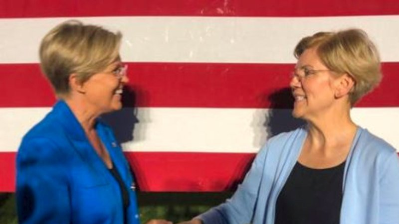 Elizabeth Warren look-alike swarmed at Warren rally