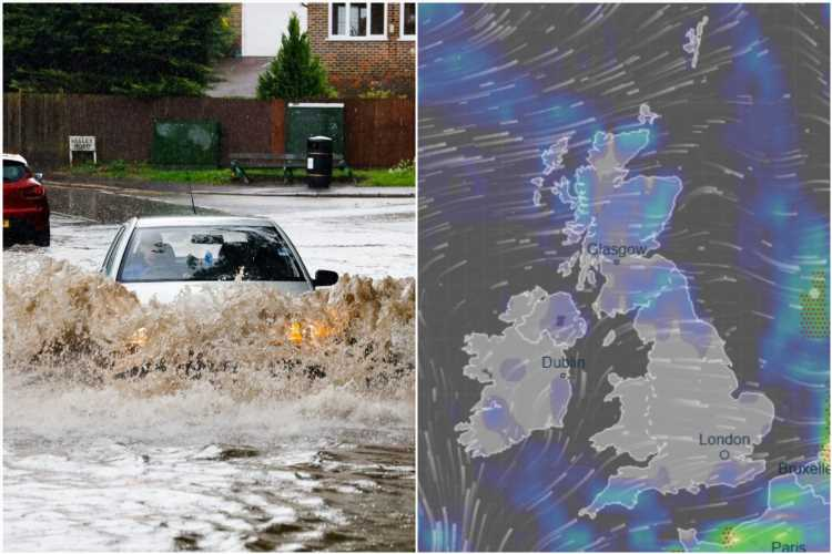 UK weather forecast – Jet stream blasts Britain with heavy rain and gales set to last all week amid August washout