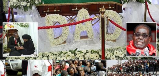 Floral tributes for Mugabe as he lies in state at football stadium