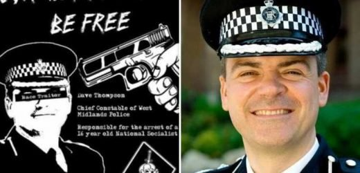 Neo-Nazis mock up execution picture of 'race traitor' cop chief and order attacks on police stations in demand for release of teen terror suspect