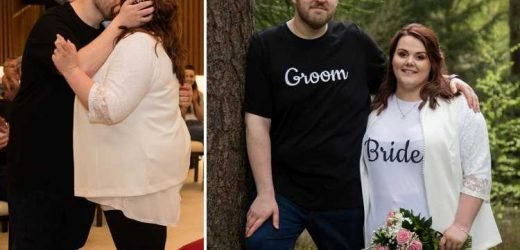 Thrifty bride and groom wed in personalised T-shirts and jeans to show weddings don't need to cost a fortune – The Sun