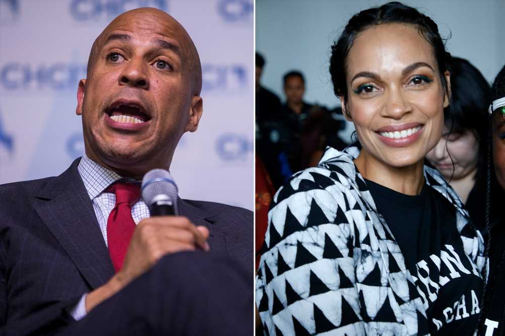 Rosario Dawson supports Cory Booker at fundraiser